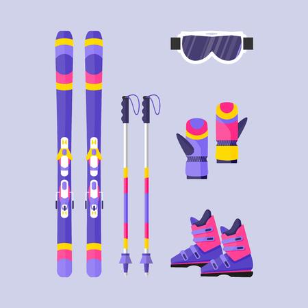 Paires de skis, bâtons, bottes, gants et masque, éléments de sport d'hiver, illustration de vecteur de style plat isolé sur fond. Ski de vecteur plat, bâtons de ski, bottes, gants, lunettes de protection Banque d'images - 82924649