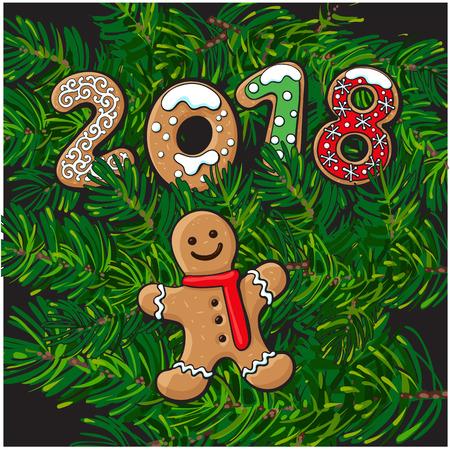 2018 Frohe Weihnachten, Neujahrsgruß-Kartendesign mit Gingerman-Plätzchen auf Tannenbaumasthintergrund. Weihnachten, Neujahrs-Grußkarte, Banner mit Gingerman Cookies, Tanne Äste Standard-Bild - 82924677