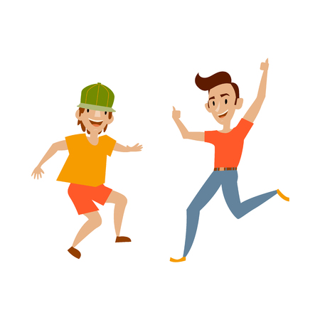 Vector two teenagers in casual clothing funny dances. Flat cartoon illustration isolated on a white background. Young men have fun dancing and smiling cheerfully.