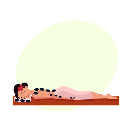 Junge Frau, die heiße Steinmassage im Badekurortsalon, Seitenansichtkarikaturvektorillustration mit Raum für Text erhält. Frau, die heiße Steintherapie im Badekurortsalon erhält, liegend auf Massagetisch Standard-Bild - 82924681