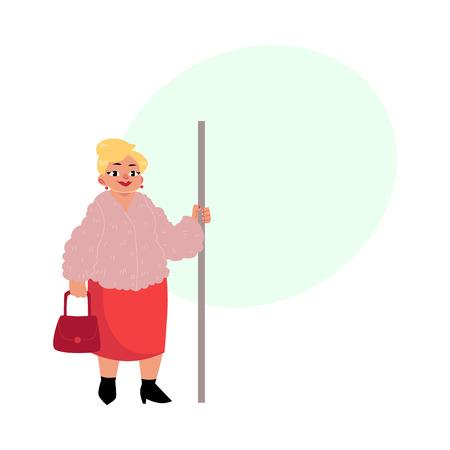 통 통 중간 나이 여자, 지하철에 서 서 지갑, 손주레, 텍스트위한 공간 벡터 만화 일러스트를 들고 주부. 지하철에서 재미 통통, 비만 여자의 전체 길이