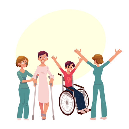 Medical rehabilitation, physical therapy activities, physiotherapist working with patients, cartoon vector illustration with space for text. Medical rehabilitation, physical therapy, nurse, patients Çizim