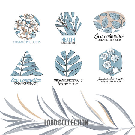 Natural, eco cosmetics blue logo set with hand drawn, sketch style leaves and flowers, vector illustration on white background. Ilustracja