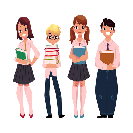 Four students, pupils, school kids standing together, holding books, cartoon vector illustration isolated on white background. Group of pupils, students, boys and girls standing together Illustration