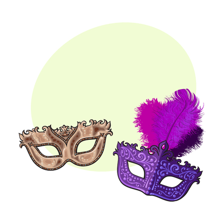 Two decorated Venetian carnival masks, one with feathers, another with golden ornaments, sketch vector illustration with space for text. Realistic hand drawing of two carnival, Venetian mask Illusztráció