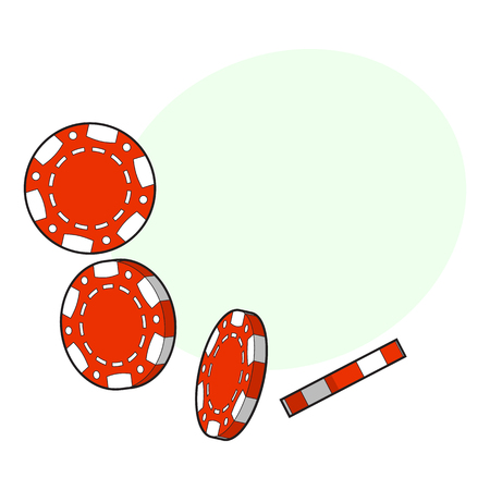 Set of falling red gambling, casino, poker chips, sketch style vector illustration with space for text. Gambling chips falling down on white background Stock Vector - 82924701
