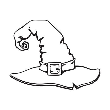 Sombrero señalado mago blanco y negro, elemento de la decoración de Halloween, ilustración del vector del estilo del bosquejo aislada en el fondo blanco. Dibujado a mano sombrero de bruja, objeto de Halloween, elemento de decoración Foto de archivo - 82924700