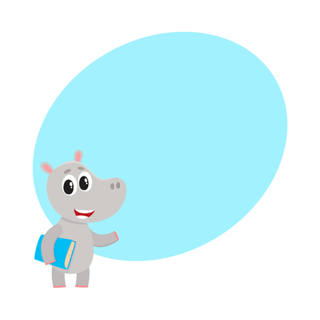 Cute little hippo student character standing with book under arm, cartoon vector illustration with space for text. Little hippo animal student character with a book, back to school concept Ilustrace