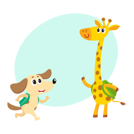 Cute animal student characters, dog and giraffe with backpacks meeting in class, cartoon vector illustration with space for text. Little animal student characters, back to school concept