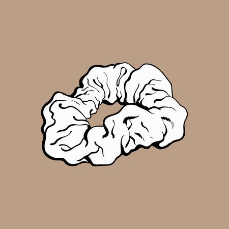 Legame dei capelli coperto di tessuto scrunchy elastico, accessorio di moda degli anni '90, illustrazione vettoriale schizzo isolato su priorità bassa marrone. Cravatta, fascia, scrunchie, popolare articolo degli anni '90 Vettoriali