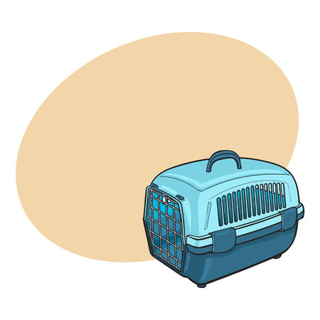 Plastic pet travel carrier for transporting cats, dogs, sketch style vector illustration with space for text. Hand drawn blue plastic pet carrier, transport, housing on white background
