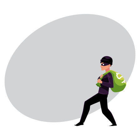 Thief, robber, burglar trying to escape with a money bag, cartoon vector illustration with space for text. Full length portrait of burglar, thief, robber in black disguise stealing money bag