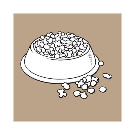 블루 반짝이 플라스틱 그릇 애완 동물, 고양이, 개, 흑인과 백인에 대 한 건조 pelleted 음식 가득 갈색 배경에 고립 된 스타일 스케치 스타일 벡터 일러스 스톡 콘텐츠