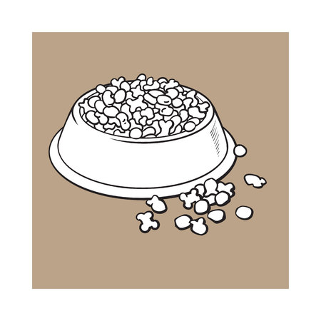 Blue shiny plastic bowl filled with dry pelleted food for pet, cat, dog, black and white sketch style vector illustration isolated on brown background. Hand drawn bowl, plate filled with dry pet, dog Banco de Imagens