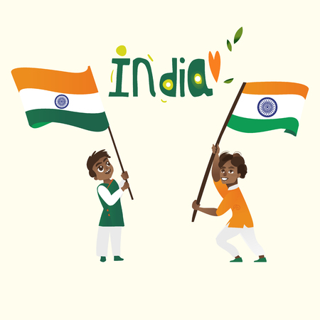 Two boys, kids, teenagers holding Indian flags and India country name lettering, cartoon vector illustration isolated on white background. Indian boys with national tricolor flag, India country name Ilustrace