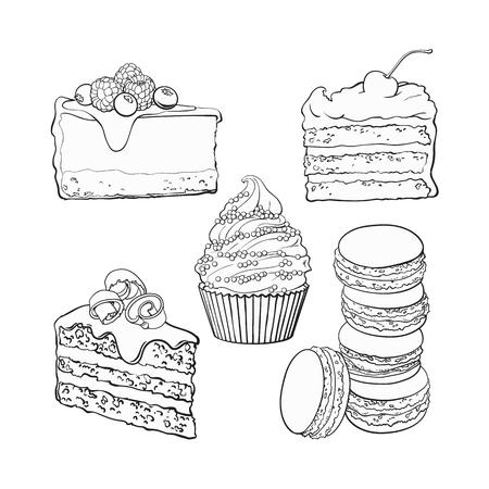 黒と白のデザート コレクション - カップケーキ、チョコレートとバニラのケーキ、チーズケーキ、マカロン、スケッチ ベクトル図の背景に分離され