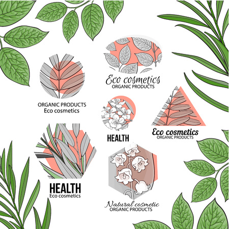 Natural, eco cosmetics orange logo set with hand drawn, sketch style leaves and flowers, vector illustration on white background.