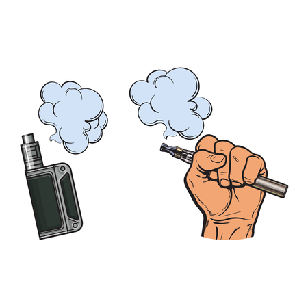 Male hand holding e-cigarette, electronic cigarette, vapor with smoke coming out, sketch vector illustration isolated on white background. Drawing of hand holding electronic cigarette, vapor and smoke