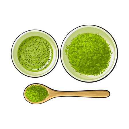 Hand drawn bowl and bamboo spoon of matcha powder, green tea cup, sketch vector illustration isolated on white background. Realistic hand drawing of matcha green tea powder and hot matcha tea cup Ilustração