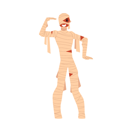 Young man wrapped in bandages, spooky mummy Halloween party costume, cartoon vector illustration isolated on white background. Man dressed as mummy, wrapped in bandages, Halloween party costume
