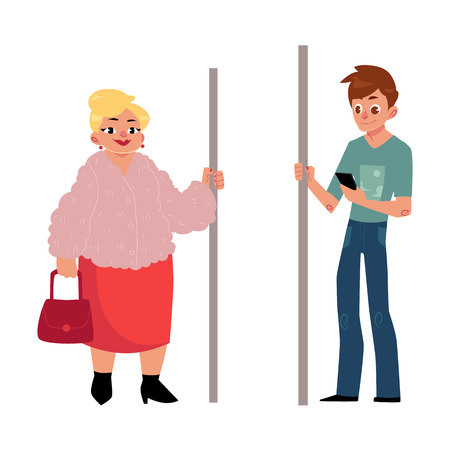 handrail: Two antipode subway passengers - plump woman, housewife and young man with smartphone, cartoon vector illustration isolated on white background. Passengers standing in subway, fat woman and young man Illustration