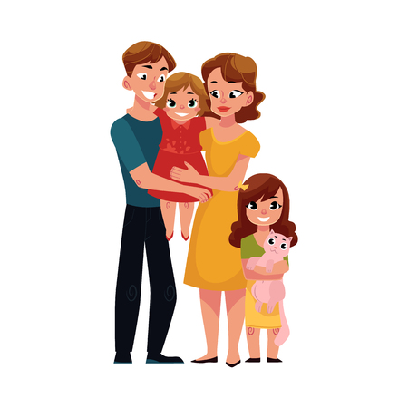 Parents, mom and dad, holding little daughter, loving family, cartoon vector illustration on white background. Full length portrait of little family, mother, father and daughter, hugging each other 일러스트