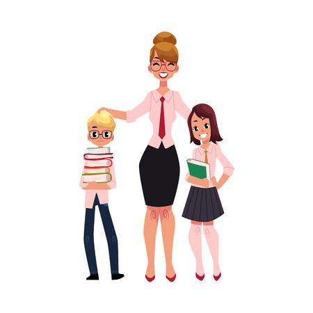 여성 교사와 두 학생 - 소년과 소녀 책, 흰색 배경에 고립 된 만화 벡터 일러스트 레이 션을 들고의 전체 길이 초상화. 함께 서있는 교사와 두 명의 학생