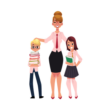 Full length portrait of female teacher and two students - boy and girl holding books, cartoon vector illustration isolated on white background. Teacher and two students standing together Illustration