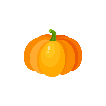 Cute cartoon pumpkin, Halloween, thanksgiving symbol, decoration element, cartoon vector illustration isolated on white background. Shiny orange pumpkin, cartoon style Halloween decoration element