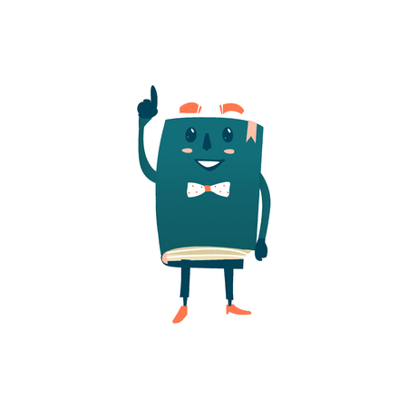 Vector cartoon humanized book. Happy ,smiling character with arms and face emotions in bowtie points something out. Flat isolated illustration on a white background. Back to school concept