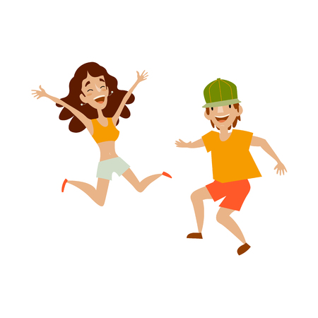 Vector set of teenagers in casual clothing funny dances. Flat cartoon illustration isolated on a white background. Young dark-haired girl and boy in green cap have fun dancing and smiling cheerfully.