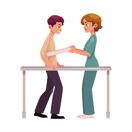 Medical rehabilitation, physical therapy, parallel bars, therapist working with patient, cartoon vector illustration on white background. Medical rehabilitation, physical therapy, parallel bars
