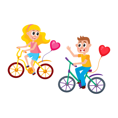 Boy and girl dating, riding bicycles together, starting romantic relationships, cartoon vector illustration isolated on white background. Couple riding bicycles, dating, boy greeting girl, waving hand Фото со стока