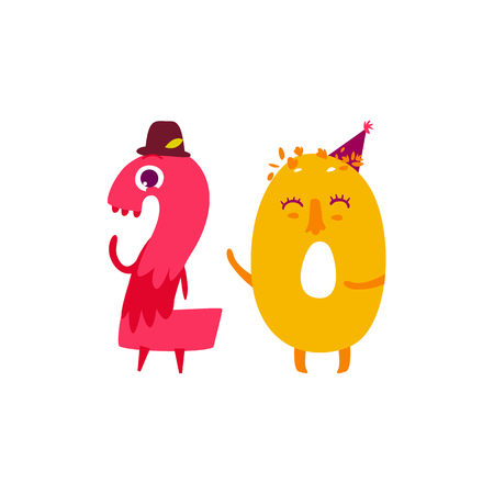 Vector cute animallike character number twenty 20. Flat cartoon illustration on a white background. Happy birthday, new year decorative numbers. Funny smiling colored math, education symbols Ilustrace