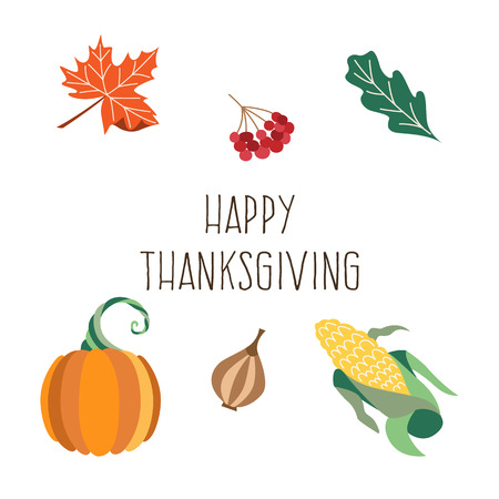 Vector set of thanksgiving autumn symbols - onion, oak maple leaves, cranberry pumpkin and corn. Flat illustration isolated on a white background. Cartoon Sign of thanksgiving, autumn, harvest. Illustration