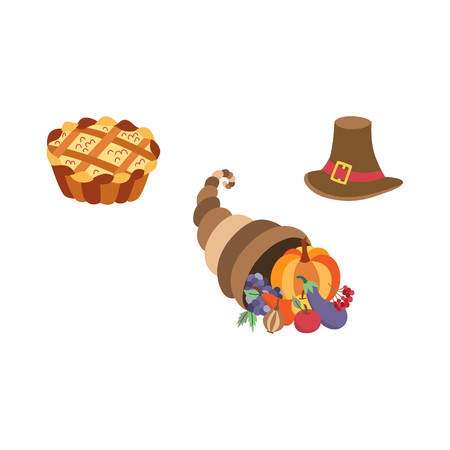 Vector set of thanksgiving pie, horn of plenty and pilgrim hat. Flat illustration isolated on a white background. Cartoon cornucopia, hat and cake. Sign of thanksgiving autumn harvest. Illustration