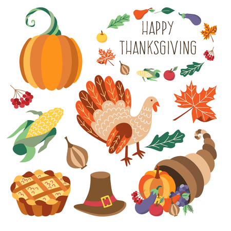 Vector thanksgiving set. Autumn, harvest and thanksgiving symbols - horn of planty, cornucopia, hat pumpkin apple pie, turkey leaves vegetables. Flat illustration isolated on a white background. Ilustracja