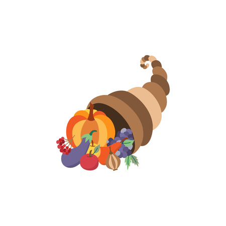 Vector horn of planty, cornucopia flat illustration symbol isolated on a white background. Sign of thanksgiving, autumn, harvest. Basket of fruit vegetables - pumpkin, apple, eggplant grape pear. Illustration