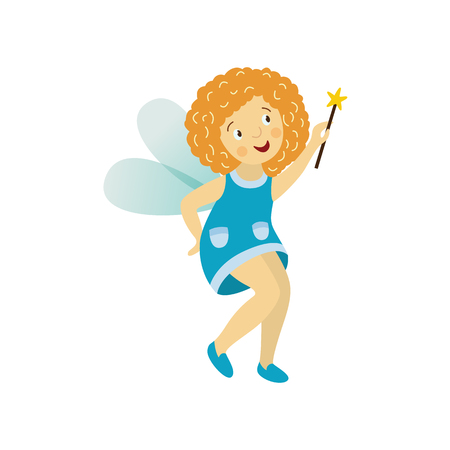 elf queen: Vector fairy girl illustration on white background. Cute cartoon smiling child with butterfly wings in cute blue dress isolated. Magic flying kid holding magic star wand. Element for your design