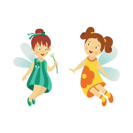 elf queen: Vector fairy girl set illustration on white background. Cute cartoon smiling child with butterfly wings in cute dress isolated. Magic flying kid. Element for your design Illustration