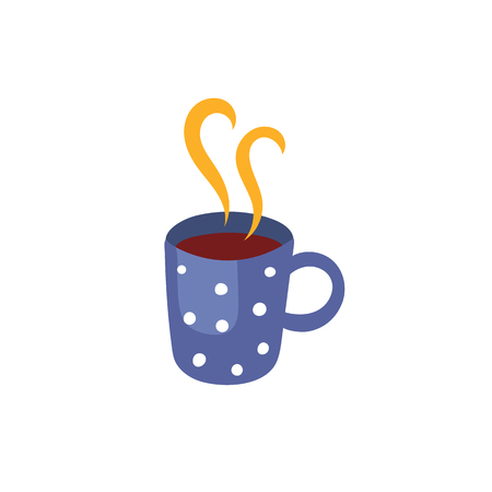 Vector cup of hot beverage. Flat, cartoon illustration isolated on a white background. Cold and flu treatment, hot tea, coffee or medicine with steam in blue dotted cup. Çizim