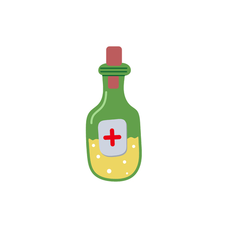 Vector medicine bottle flat illustration isolated on a white background. Green bottle with yellow drug in cartoon style. Cold and flue treatment remedy concept