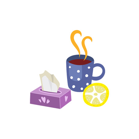 Vector flu and cold treatment set. Isolated illustration on a white background. Hot drink with lemon and napkins. Hot tea, coffe or medicine with citrus and box holder for facial tissue. Çizim