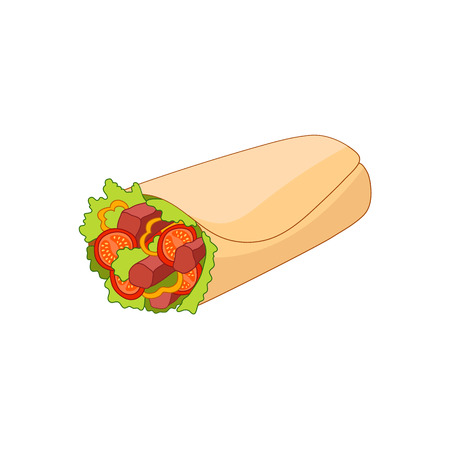 Vector chicken, vegetables roll, fast food meal. Doner gebab, shawarma flat cartoon illustration isolated on a white background. Arabic, eastern food, hand drawn image. Buritto, taco - mexican food Illustration