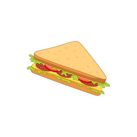 Kanapka wektor z warzywami. Fast food płaski kreskówka na białym tle ilustracja na białym tle. Trójkątna świeża kanapka z serem, pomidorem i surówką Ilustracje wektorowe