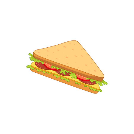 Vector sandwich with vegetables. Fast food flat cartoon isolated illustration on a white background. Triangular fresh sandwich with cheese, tomato and salad