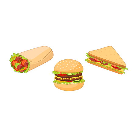 Vector burger hot dog roll shawarma sandwich set. Flat cartoon isolated illustration on a white background. Fast junk food concept. Tasty triangular sandwich, shawarma doner kebab, humburger, hot dog Illustration