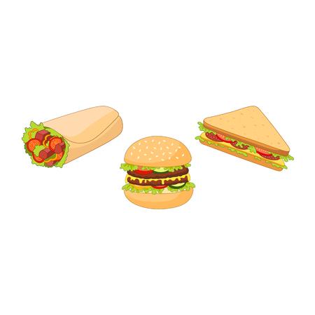 Vector hamburger hot dog broodje shoarma sandwich set. Platte cartoon geïsoleerde illustratie op een witte achtergrond. Snel junkfood-concept. Smakelijke driehoekige sandwich, shoarma döner kebab, humburger, hotdog