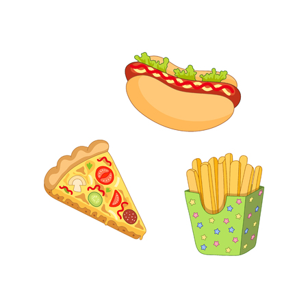 Vector pizza slice, french fries hot dog set. Fast food flat cartoon isolated illustration on a white background. Hot dog with sauce and salad, potato fry in paper box and tomato and pepperoni pizza Illustration