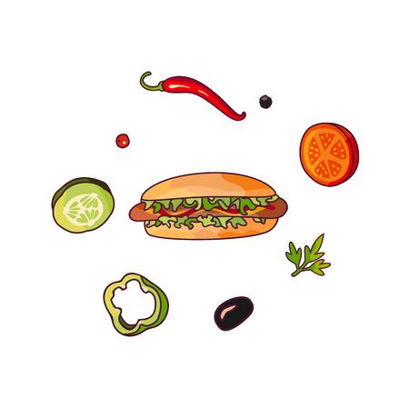 Vector flying ingredients hotdog set flat isolated illustration on a white background. Vegetables for pizza, sandwich, roll shawarma fastfood preparation. Chilli, tomato pepper olive cucumber cartoon Ilustração